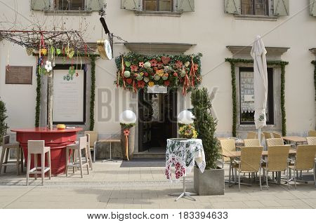 GRAZ, AUSTRIA - MARCH 20, 2017: Exterior decorations of a restaurant in Graz the capital of federal state of Styria Austria.