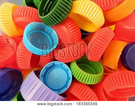 combination of multicolored PET polyethylene bottle caps