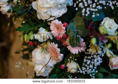 archway of many beautiful flowers, wedding arch with peonies
