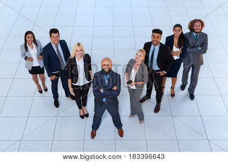 Business People Group Happy Smile Standing At Modern Office Top View, Businesspeople Team