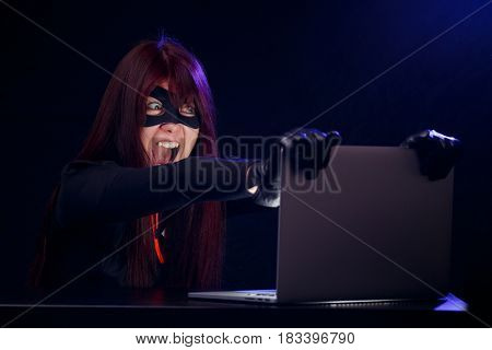 Girl in mask of thief
