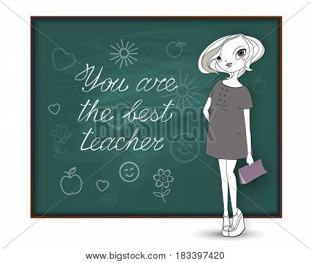 Happy Teacher's Day. The best teacher. A young fashionable woman stands near the school board with a congratulatory inscription and drawings of students for her as a gift. Illustration for the holiday.