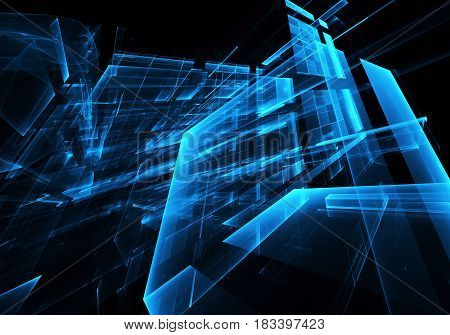 Computer generated abstract technology image. Three-dimensional fractal texture 3D illustration