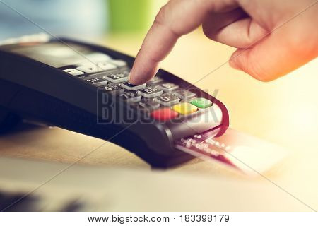 New credit card payment close up picture