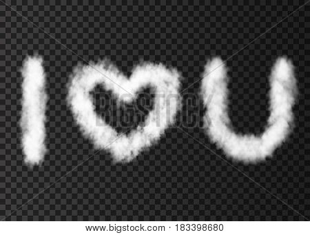 White Cloud Text I Love You Isolated On Transparent Background.