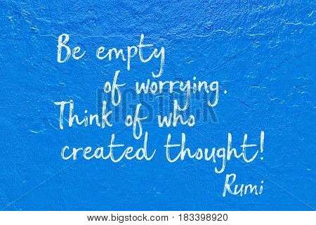 Empty Worrying Blue Rumi