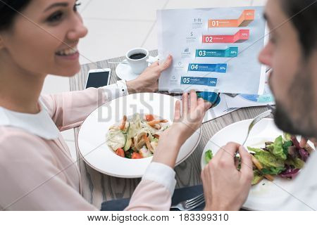 Cloase up photo of business meeting. Business people discussing graphics. Businessman and woman in luxury restaurant. They having meal and coffee