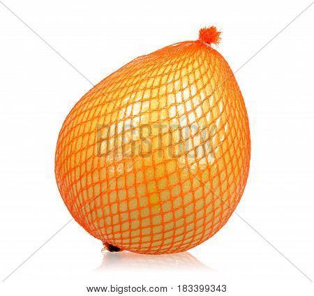 Packed pomelo isolated on white background .