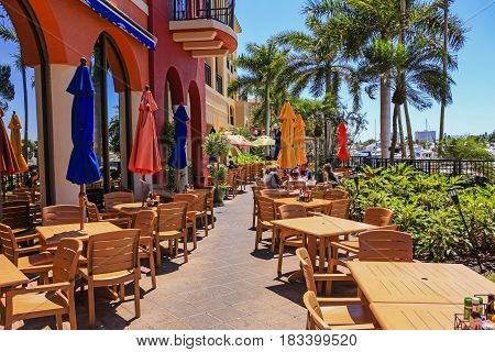 Marco Island, FL, USA - 04/07/2017: Mango's Dockside Bistro Restaurant on Marco Island FL