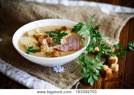 Vegetable soup puree with cheese, bacon and bread crumbs