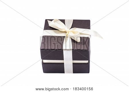 xmas brown gift box isolated on white