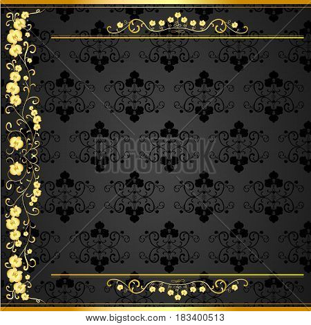 Golden curls with orchids on a black background with velvety texture for business cards
