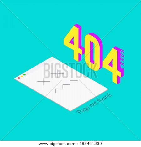 Error 404 page not found. Isometric background. Page is bad