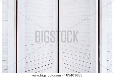 White Wooden Screen For Changing Clothes With A Texture For The Background. Horizontal Frame