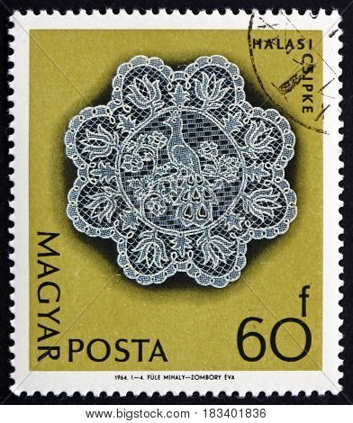 HUNGARY - CIRCA 1964: a stamp printed in Hungary shows Halas Lace handwork circa 1964