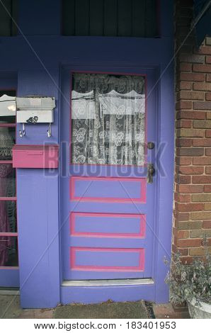 A Blue Door welcomes customers into a sho in Black MountainNorth Carolina
