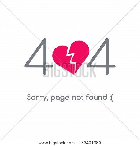 Error 404 page not found. The pink heart is split in half
