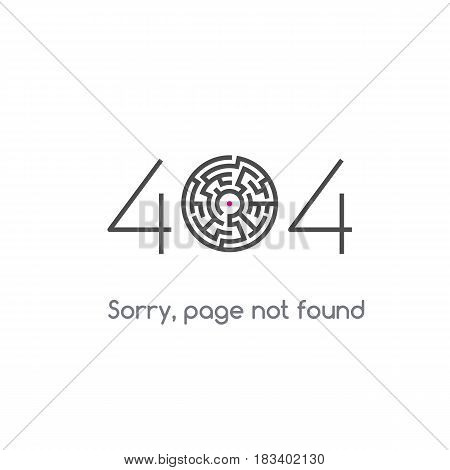 Error 404 page not found. Stylized zero in the form of a labyrinth