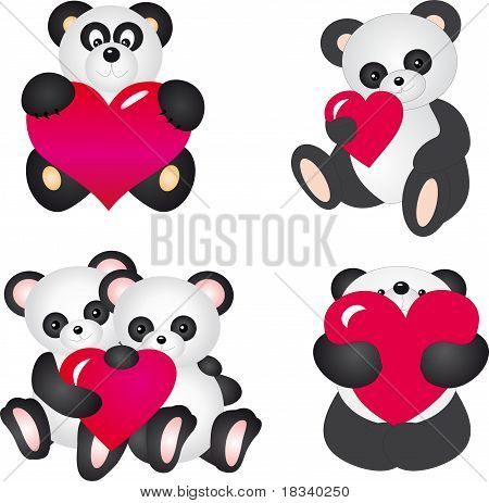 Panda with Heart. Vector Set