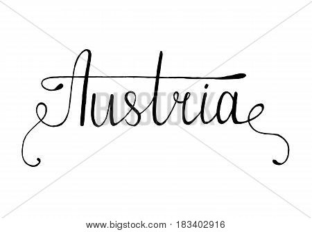 Austria hand drawn ink brush lettering with the national flag of the country. Calligraphy word Austria . Austria national symbol