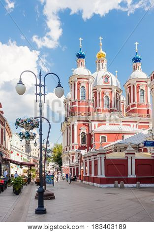MOSCOW - AUGUST 7 2016: The baroque church of Saint Clement of Rome on Klimentovsky lane. This area was reconstructed and became pedestrian in 2014.