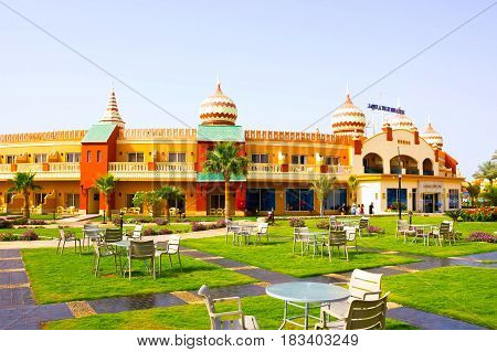 Sharm El Sheikh, Egypt - April 10, 2017: The view of luxury hotel AQUA BLU Sharm 5 stars at day with blue sky at Sharm El Sheikh, Egypt on April 10, 2017