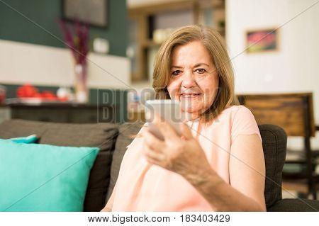 Elder Woman Holding Her Phone