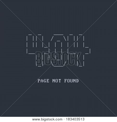 Error 404 page not found. Stylization under the DOS. ASCII Art