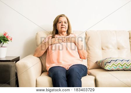 Elder Woman Suffering Heartache