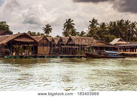 fishing village on river in Krabi Province, Thailand