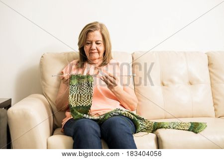 Elder Woman Knitting A Scarf At Home