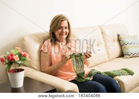 Retired Elderly Woman Doing Some Knitting