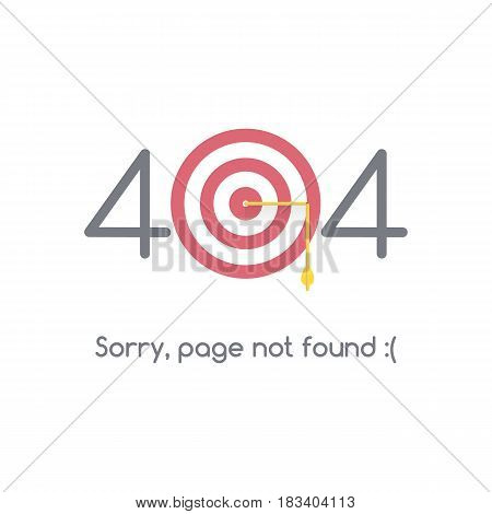 Error 404 page not found. The arrow hit the target and broke. Target for shooting