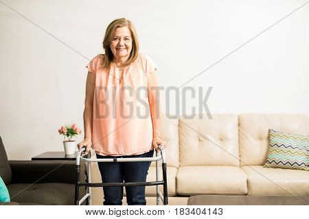 Aged Granny With Walking Disability