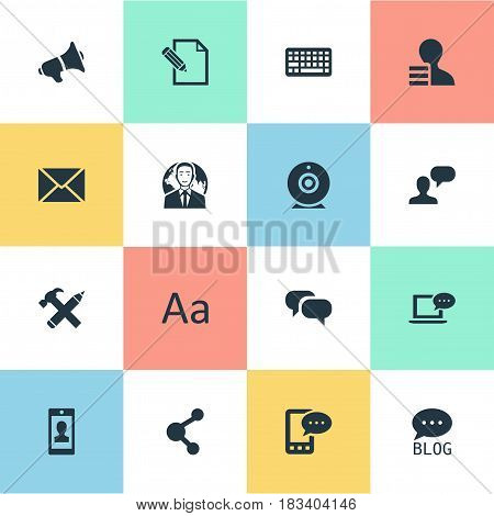 Vector Illustration Set Of Simple Newspaper Icons. Elements Keypad, Broadcast, Gain And Other Synonyms Broadcast, Missive And Blog.