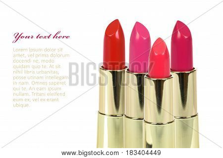 Red lipstick collection on white background with place for add text