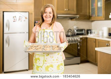 Senior Woman Showing Her Baked Cookies