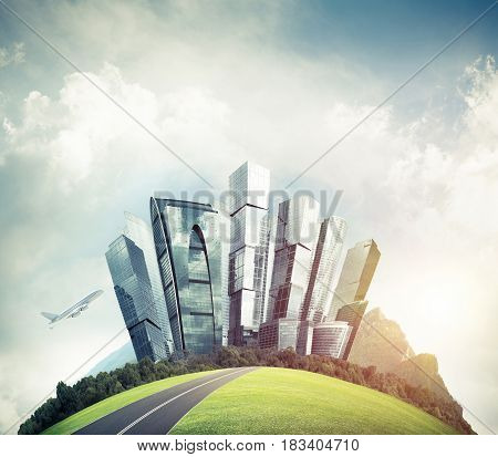 Modern business cityscape on green round globe presenting eco construction