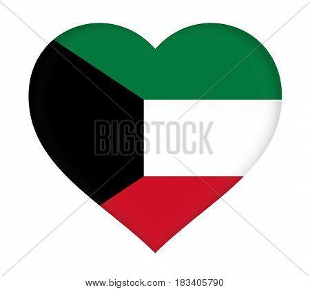 Illustration of the flag of Kuwait shaped like a heart.