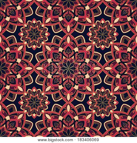 Oriental pattern of mandala. Vector colorful ornament. Template for shawl textile carpet.