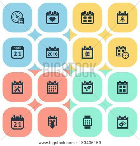 Vector Illustration Set Of Simple Plan Icons. Elements Intelligent Hour, Renovation Tools, Plant And Other Synonyms Repair, Reminder And Remembrance.
