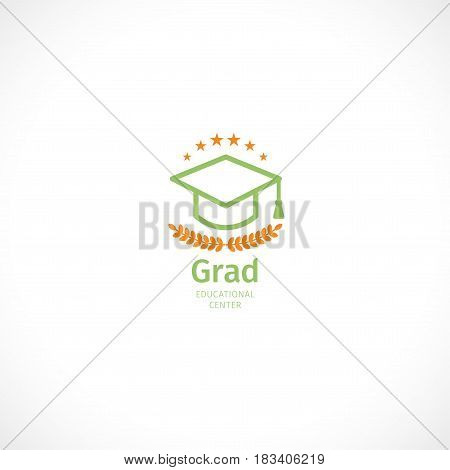 Isolated abstract orange and green color graduate hat logo, stylized mortarboard, educational center logotype on white background.