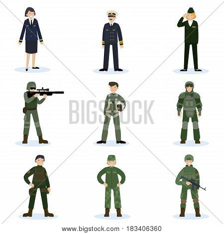 Army soldiers set with military command and men in different camouflage uniform isolated vector illustration