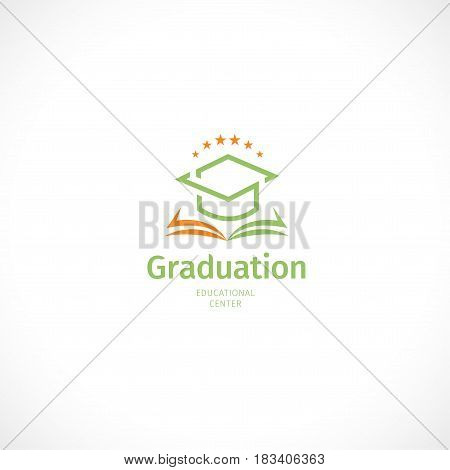 Isolated abstract orange and green color graduate hat logo, stylized mortarboard with open book, educational center logotype on white background.
