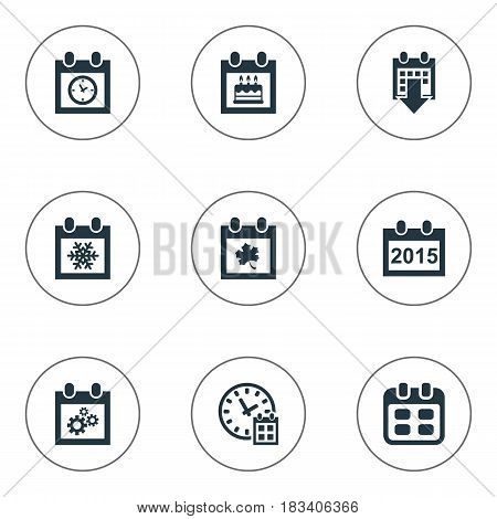 Vector Illustration Set Of Simple Calendar Icons. Elements History, Event, Planner And Other Synonyms Event, Planner And Calendar.