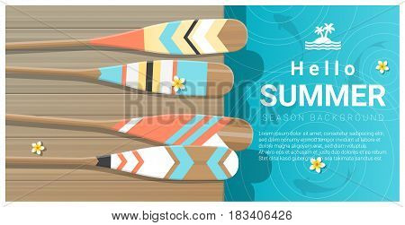 Hello summer background with collorful canoe paddles on wooden pier , vector , illustration