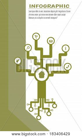 Infographic tech tree with symbols. Place for own text. . Vector illustration on white background with stripes