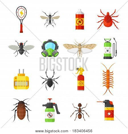 Pest control vector icons isolated on white background. Household pests cockroach, termite, bug, spider, moth, mosquito and fly.  Means for the control of pests pesticide, fumigation, bug spray.
