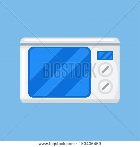 Microwave vector illustration in a flat style. White, closed microwave on a blue background.