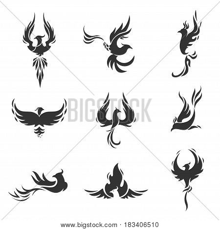 Phoenix bird stylized silhouettes icons on white background. Logo template in the form of a burning flying phoenix. The concept of growth, strength and freedom.